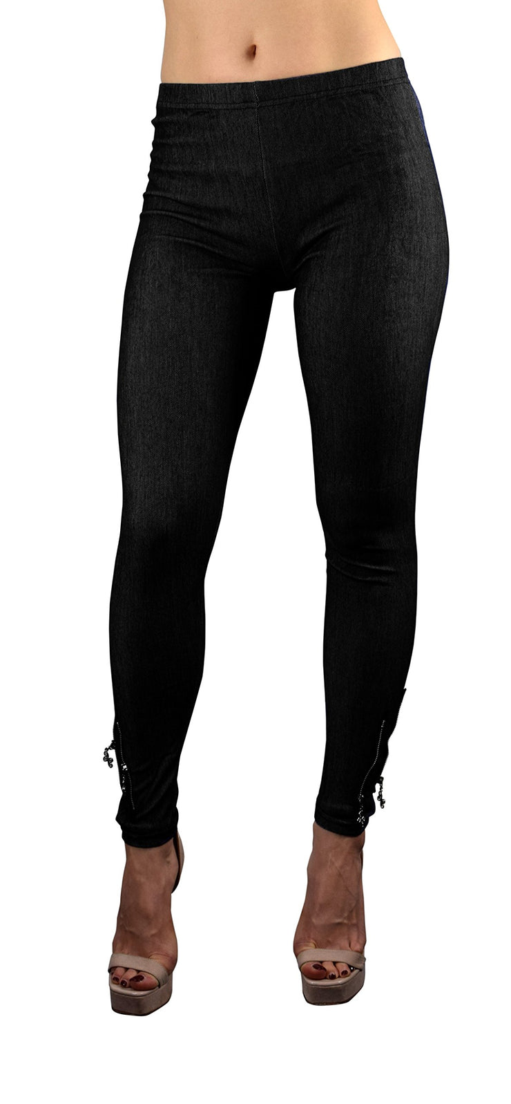 Peach Couture Womens Full Length Ankle Zip Stretchable Jeggings Leggings