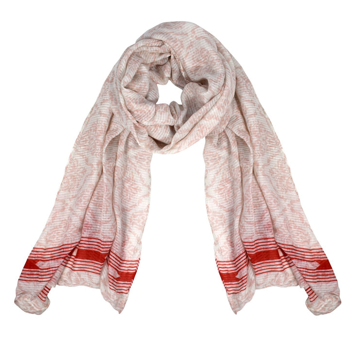 Peach Couture Womens Summer Fashion Light Weight Damask Print Long Scarf