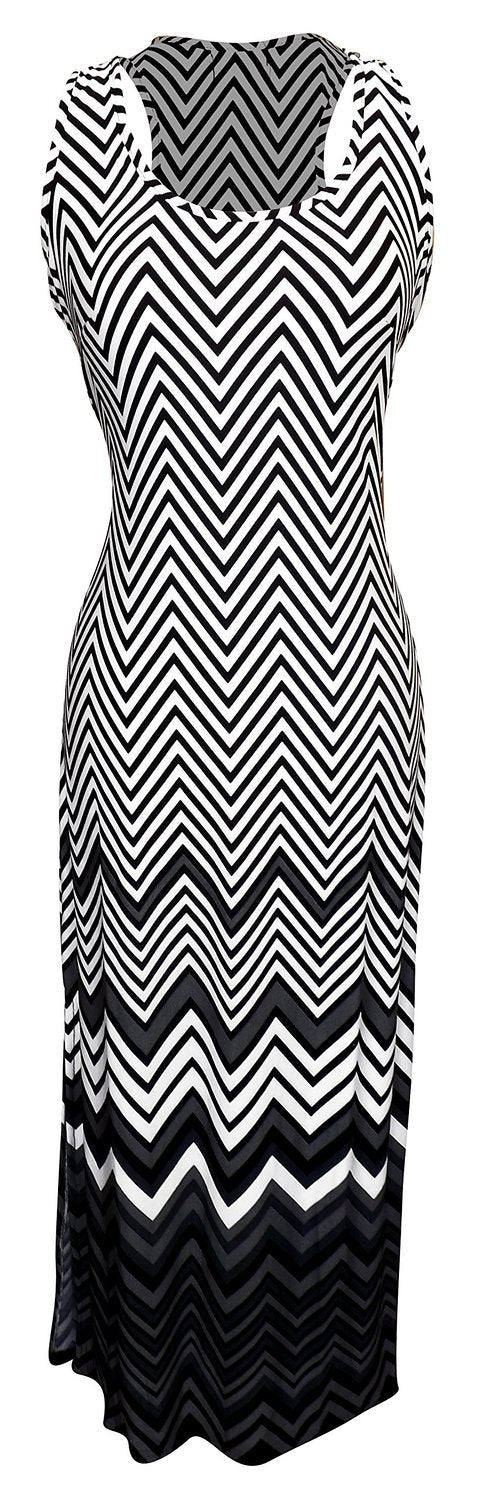 Womens Boho Maxi Striped Chevron Print Scoop Neck Tank Dress (Grey, XL)