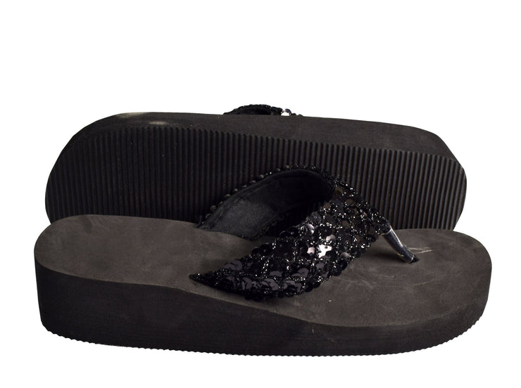 Women's Fashion Sequin Foam Wedge Heeled Platform Beach Sandal Black, 8