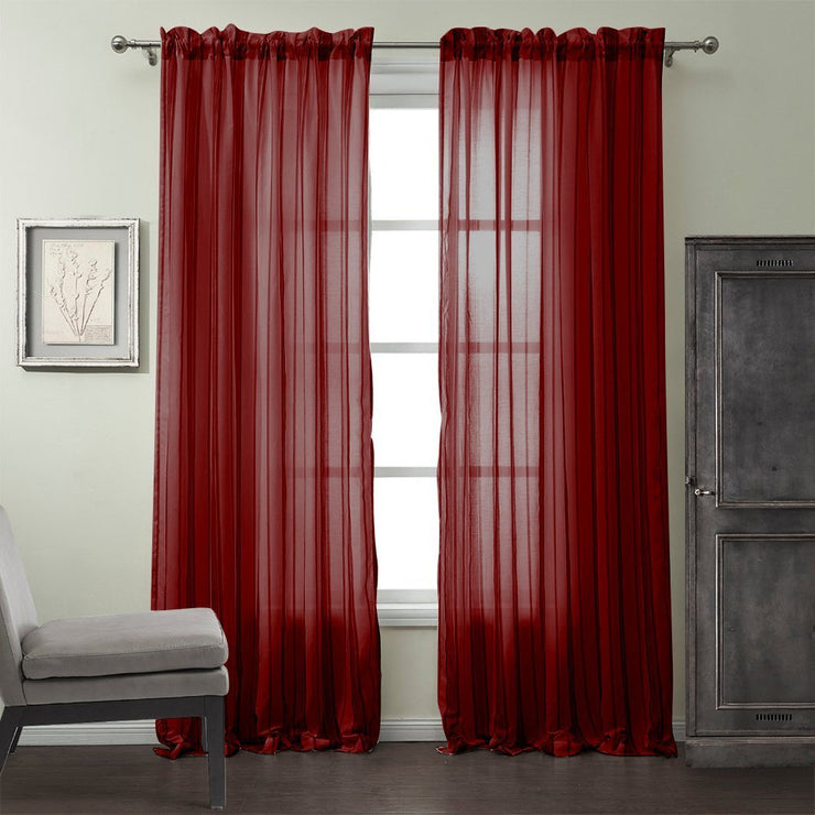 Window Treatment Woven Sheer Solid Panel Set Drape Curtain 55 x 84