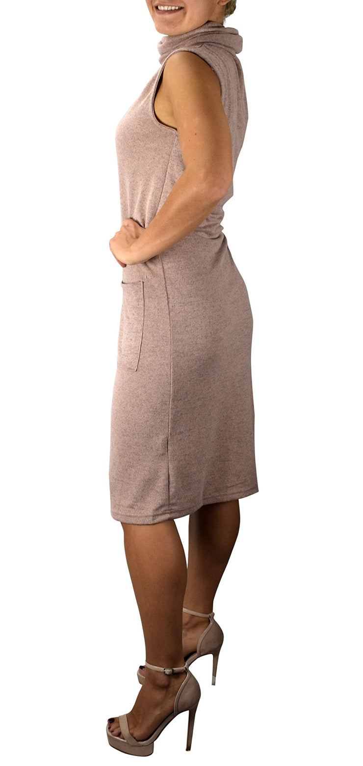 Peach Couture Cowl Neck Sleeveless Sweater Dress with Pockets