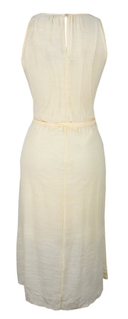 Womens Hi Low Gold Embellished Tank Dress with Fabric Waist Tie