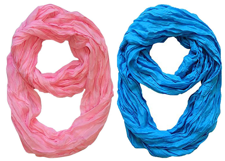 Baby Pink, Blue Peach Couture Fashion Lightweight Crinkled Infinity Loop Scarf Neon Faded Ombre