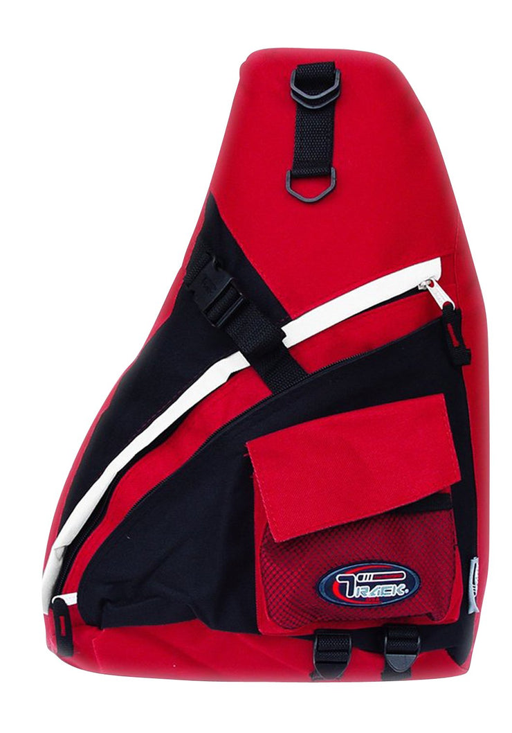 Single Strap Sling Travel College School Laptop Backpack Daypack (Small Red/Grey)