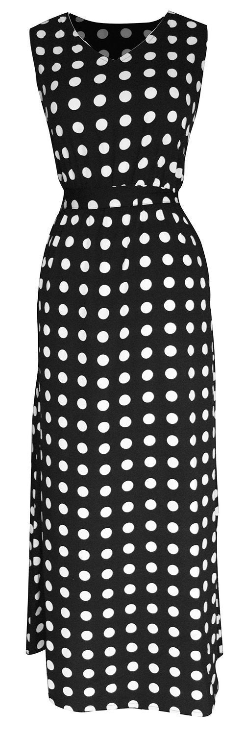 B0594-Maxi-Cowl-Dress-Polka-WhtBlk-L-SD