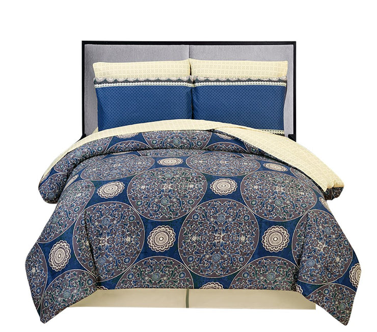 Couture Home Collection Damask 8 Pc Comforter Set Flamming star Blue Full