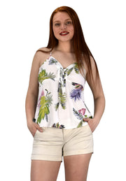 Peach Couture Floral Leaf Print Spaghetti Strap Tie Neck Blouse Tops Shirts