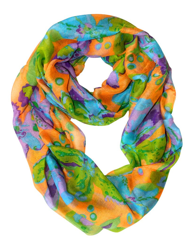Abstract Colorful Tropical Hibiscus Flower Infinity Loop Scarf Orange