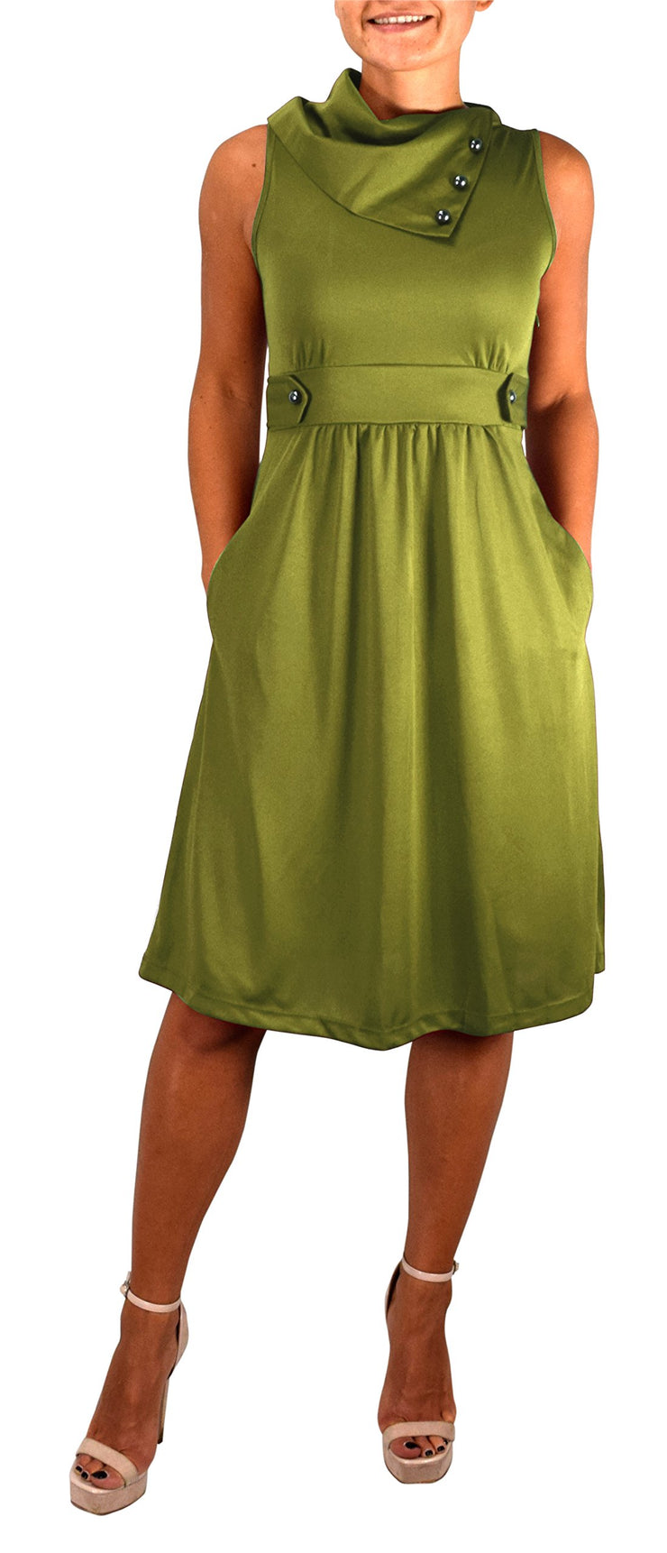 B0920-Foldover-Collar-Dress-Green-M-OS