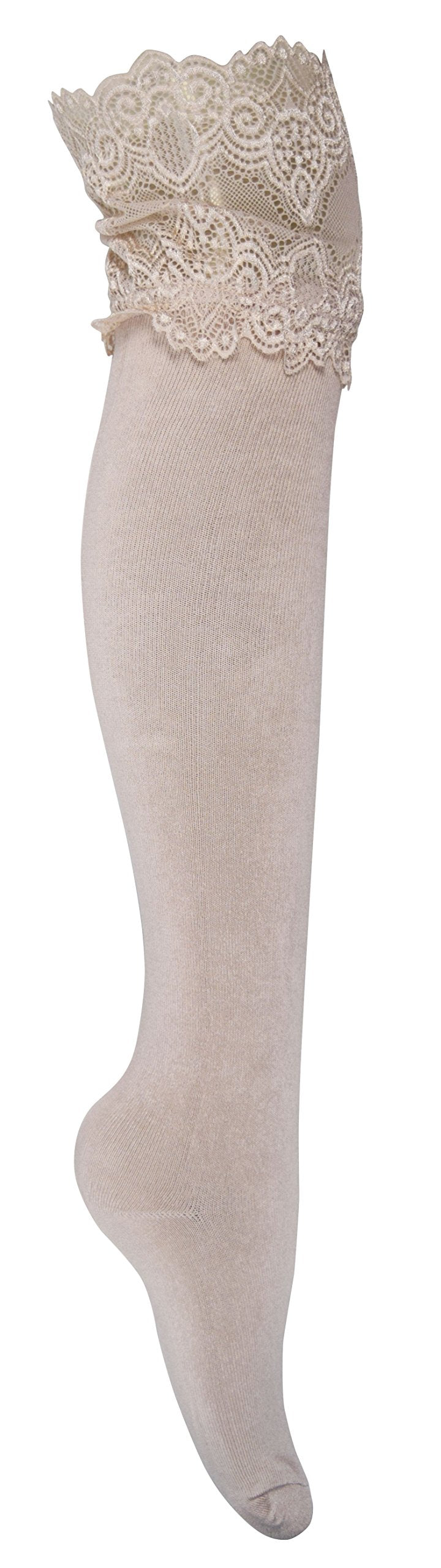 Stylish High Wide-Lace Jersey Knit Knee-High Cotton Boot Socks