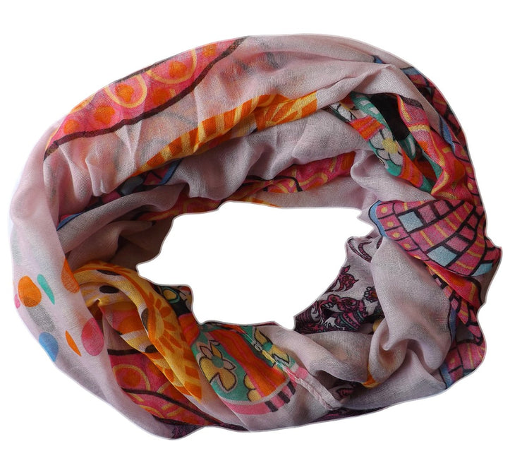 Vivid & Lively Lightweight Paisley Damask Infinity Loop Scarf