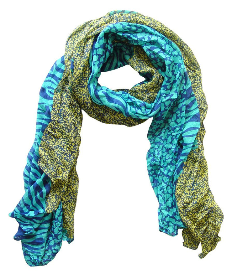 Teal & Yellow Peach Couture All Seasons Retro Zebra and Leopard Print Crinkle Scarf