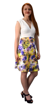 Womens V Neck Empire Waist Floral A line Dress