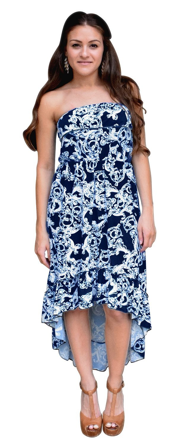 A9381-Ruffle-HiLo-TubeDress-Navy-XL-RK