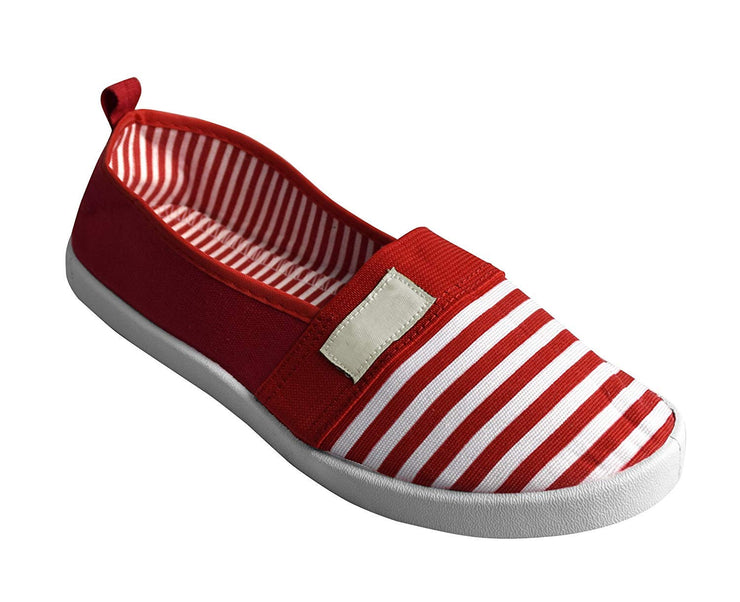 Striped Lightweight Canvas Classic Casual Slip On Shoes Sneakers (9, Red)