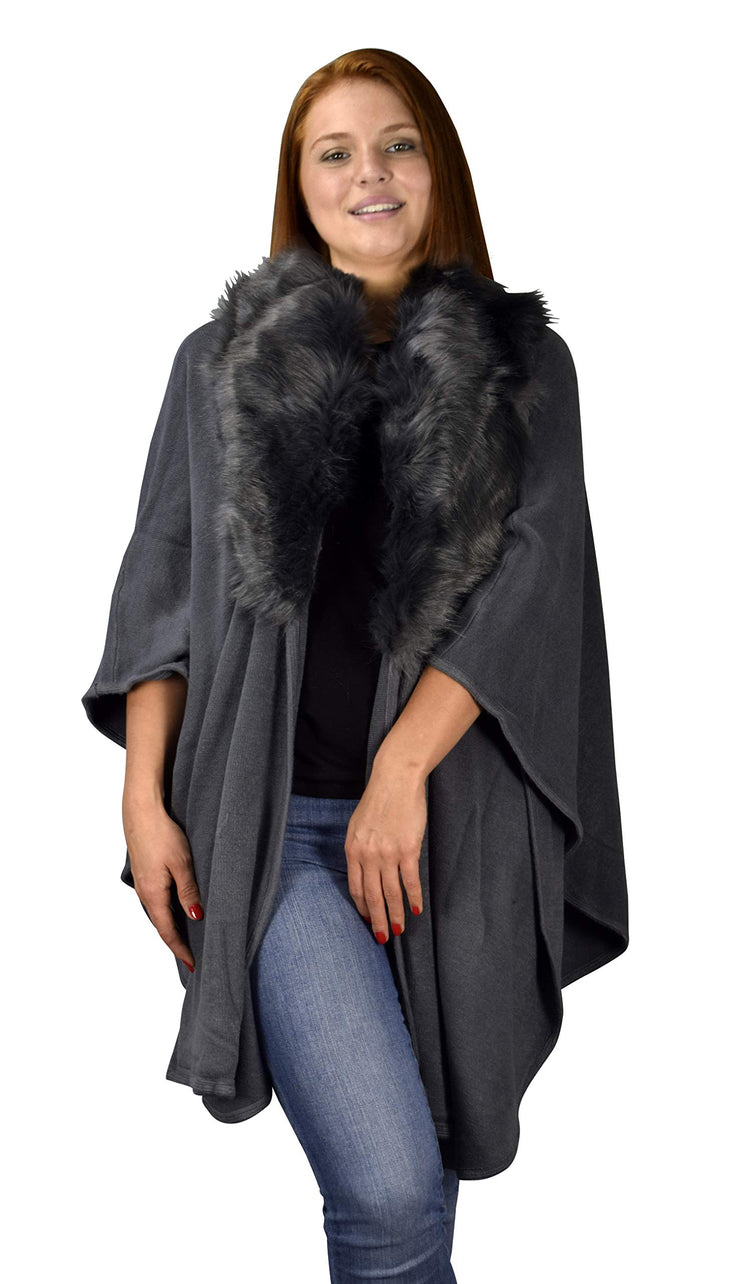 Womens Faux Fur Relaxed Fit Poncho Cape Pullover Sweater (One Size, Solid Gray)