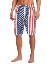 Mens Beach Boardshorts Water Sports Casual Swimming Surfing Shorts XL Red White Blue