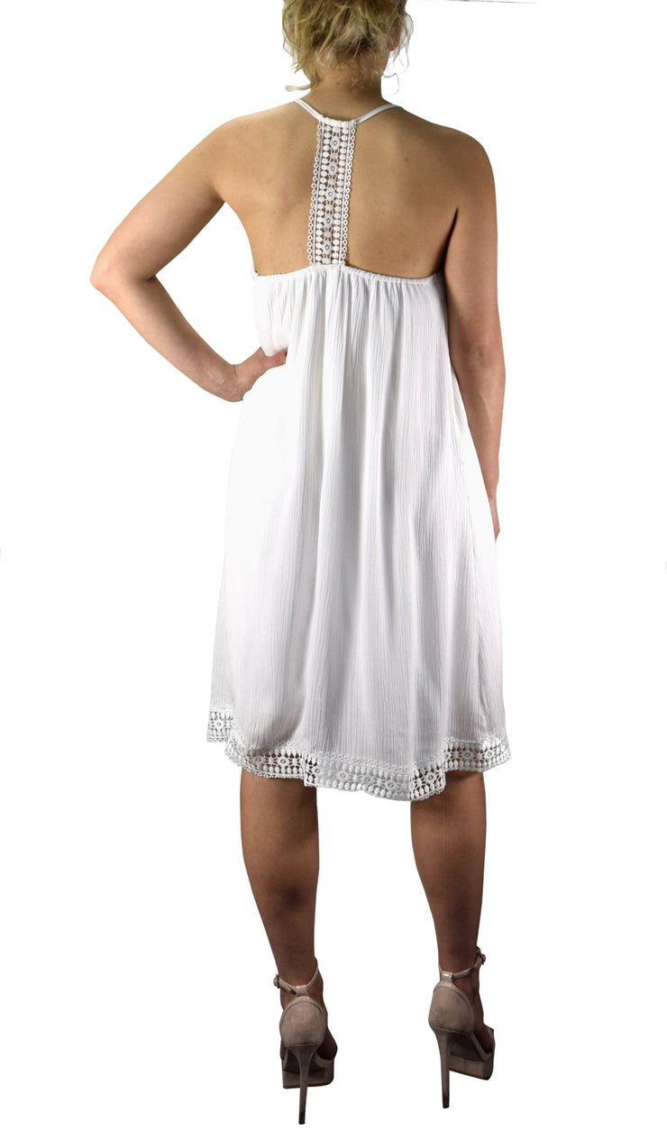 Spaghetti Strap Playful Low Back Laced Hem Summer Shift Dress
