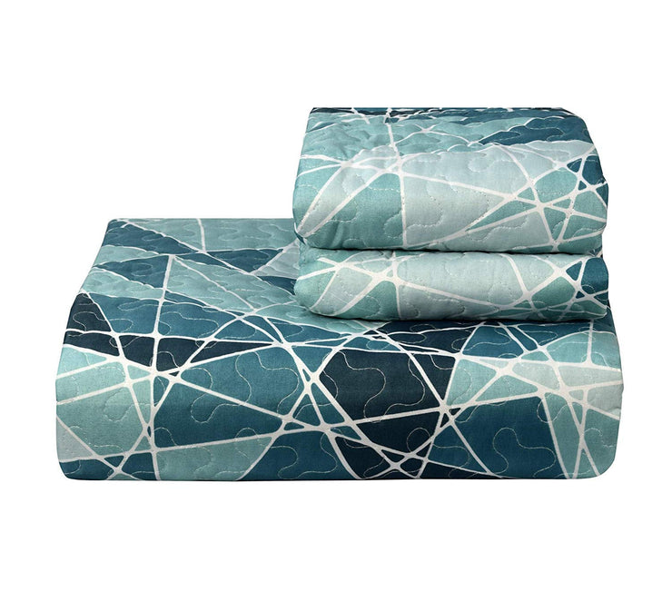 Couture Home Collection Bright Fun Bohemian Style Patchwork Quilt Set Coverlet Bedspread 3 Piece Set Teal, King