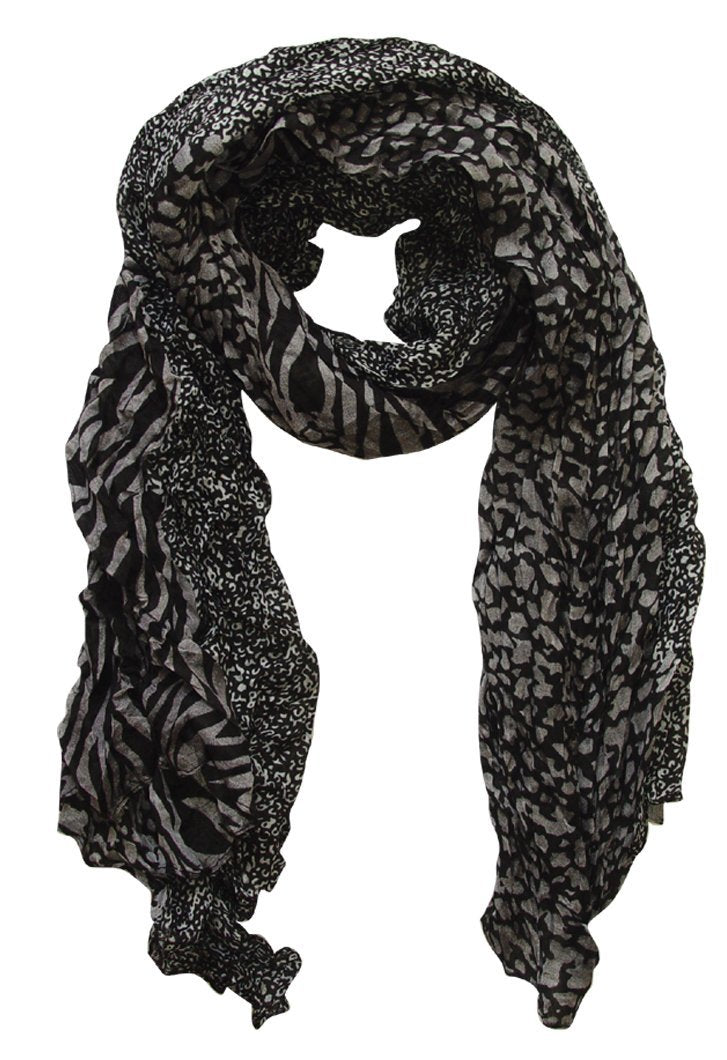 Grey & Black Peach Couture All Seasons Retro Zebra and Leopard Print Crinkle Scarf
