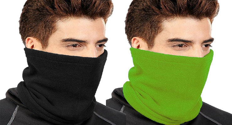 Thick Knit One Hole Facemask Balaclava Snowboarding Biker Mask (Green Black)