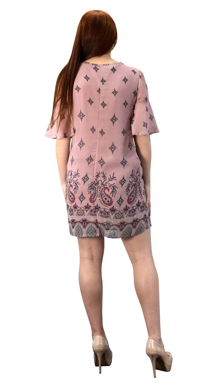 Mid Length Keyhole Neck Paisley Caftan Tunic Dress