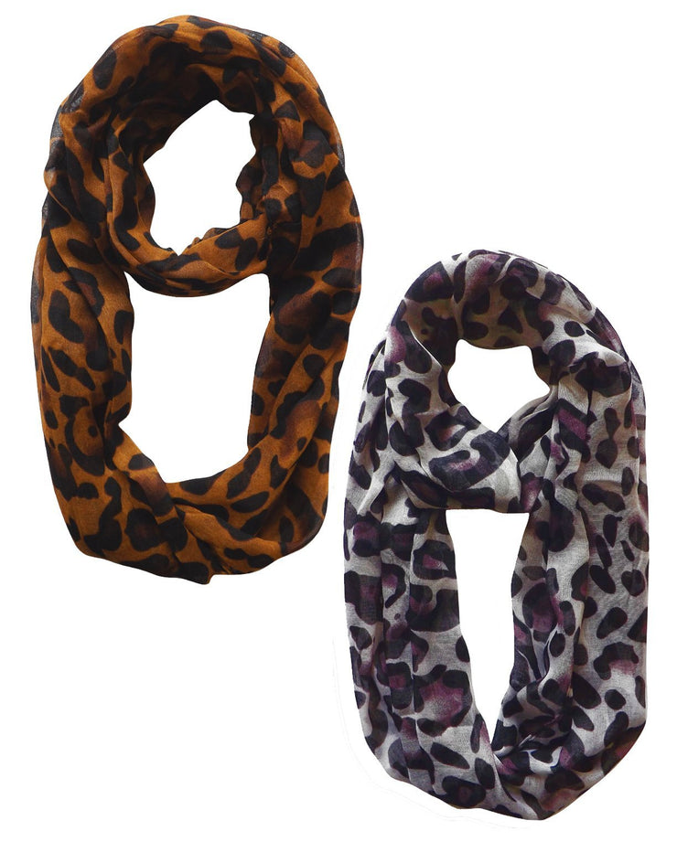 Bronze Women's Retro Fashion Two Tone Animal Print Infinity Loop Scarf