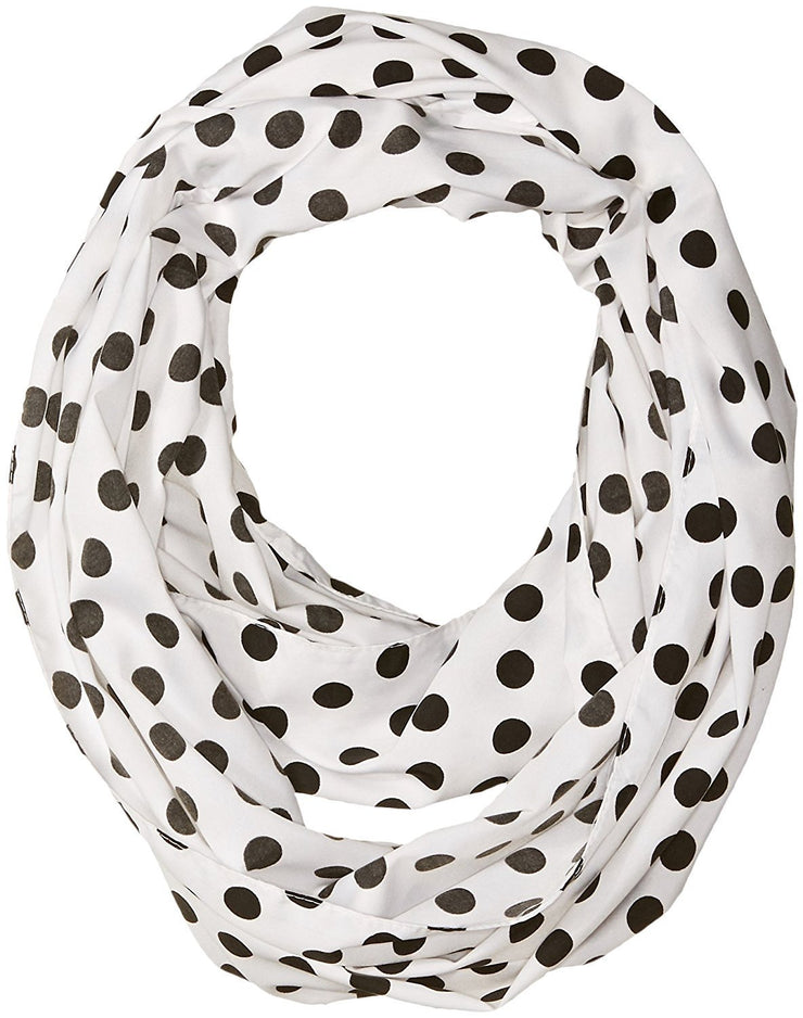 White Black Peach Couture Light and Sheer Polka Dot Circle Print Infinity Loop Scarf