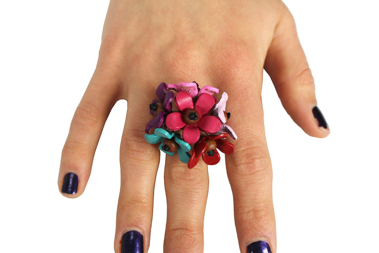 Gems Couture Jewelry Leather & Coconut Wood Flower Bloom Ring (Mixed)
