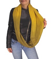 Cashmere feel Gorgeous Warm Two Toned Infinity loop neck scarf snood Ombre Yellow