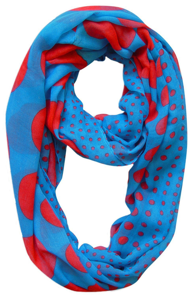 Blue and Red Peach Couture Vintage Multicolored Classic Bright Polka Dot Infinity Loop Scarf