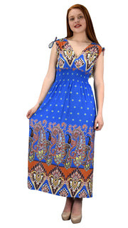 Womens Summer Exotic Floral Bohemian Tahiti Sleeveless Maxi Dress Polka Dot Blue Large