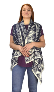 Women's Sleeveless Fair Isle Reversible Draped Open Front Cardigan Vest