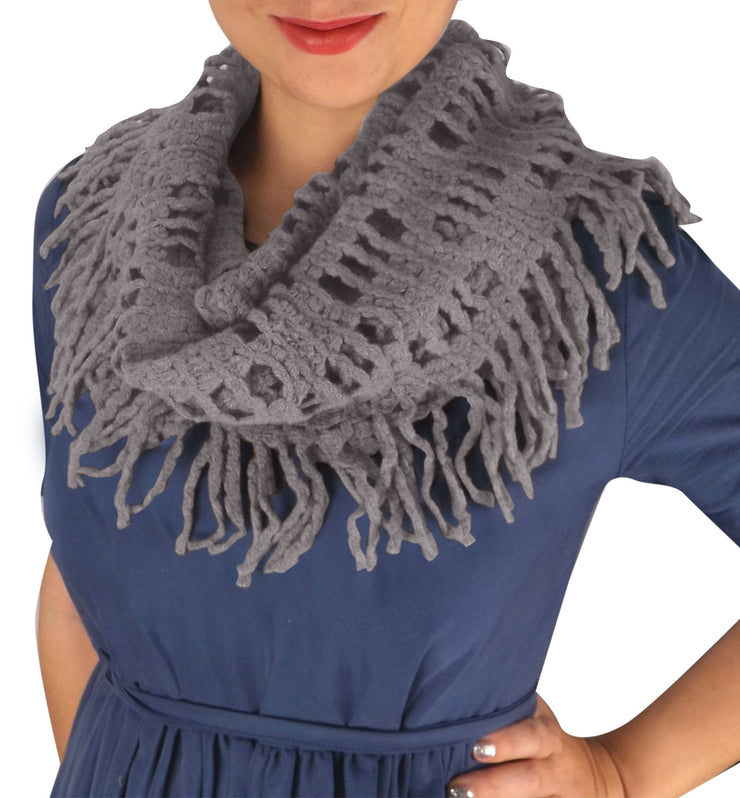 Winter Knitted Rectangular Pattern Long Fringe Warm Infinity Loop Scarf