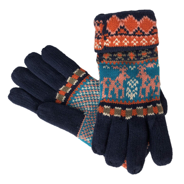Cable Knit Double Layer Plush Fleece-Lined Gloves