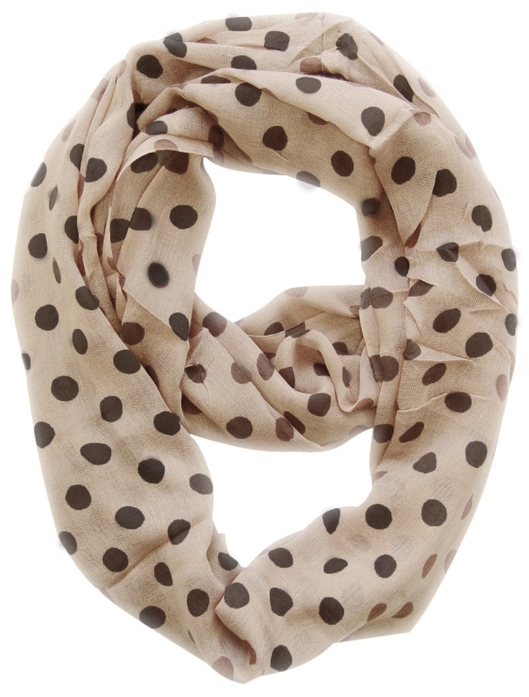 Cream Peach Couture Light and Sheer Polka Dot Circle Print Infinity Loop Scarf
