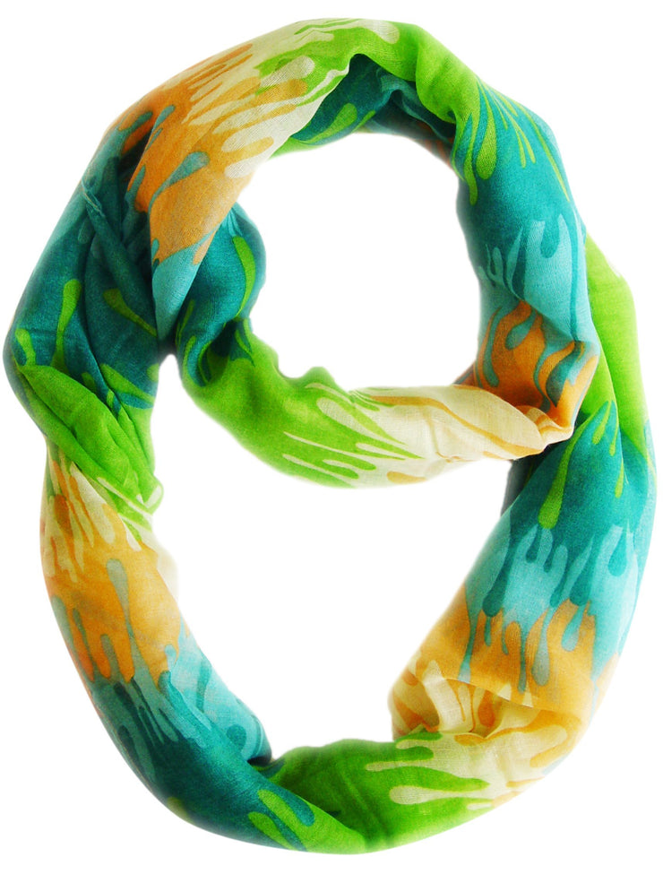 Green Peach Couture Trendy Abstract Multicolored Paint Design Infinity Loop Scarf/wrap