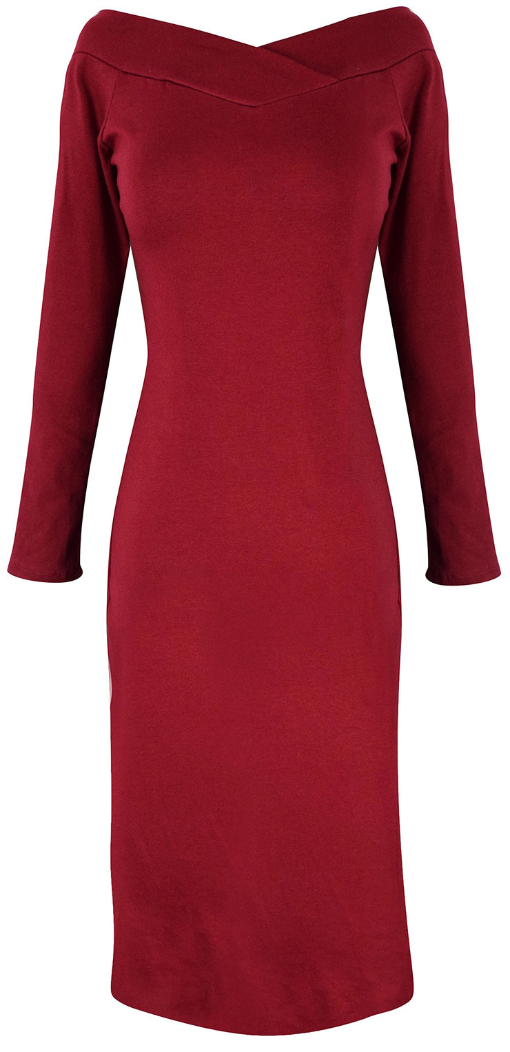 A6889-Bdycon-Dress-Solid-Maroon-M-JG
