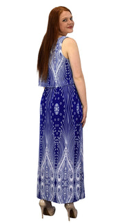 Sleeveless Bohemian Print Scoop Neck Overlay Cocktail Maxi Dress