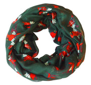 Peach Couture Beautiful Vintage Two Colored Bird Print Infinity Loop Scarf Scarves