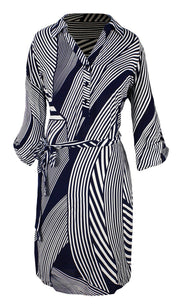 Womens Multi Pattern Button V Neck Shift Dress 3/4 Sleeves