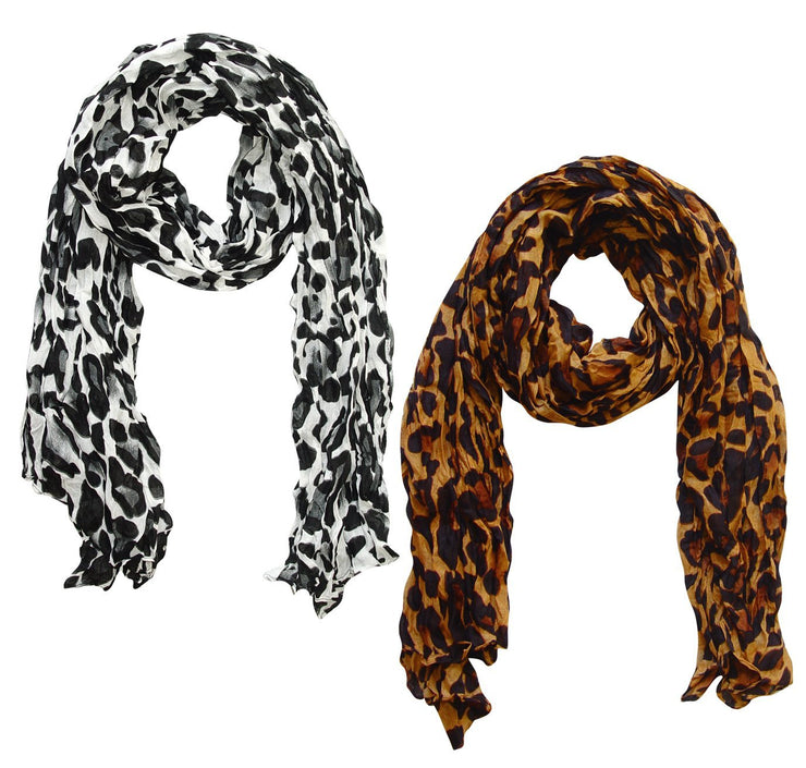 White/Brown Peach Couture Trendy Women's Leopard Animal Print Crinkle Scarf wrap