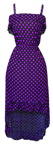 A1269-PolkaDot-Maxi-Dress-Blk-Purp-M-SM