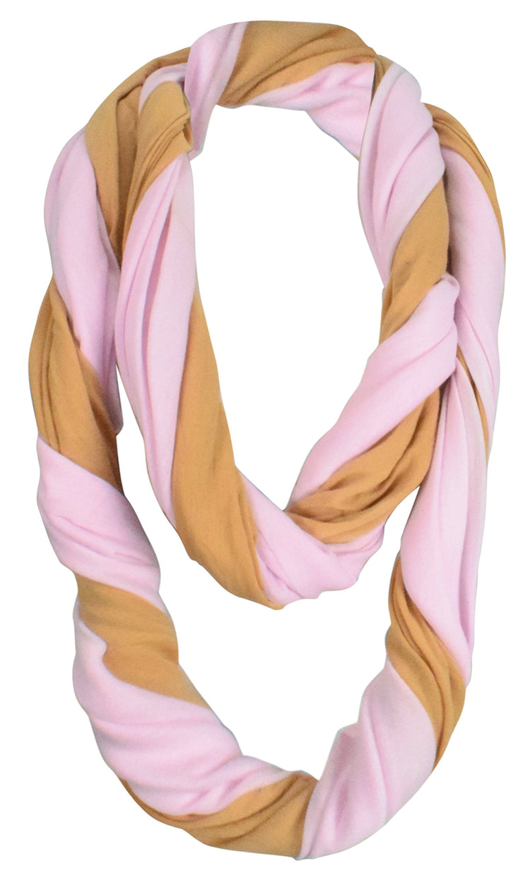 Elegant Light Weight Two Color Infinity Circle Loop Scarf Long Scarf