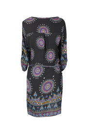 Peach Couture Bohemian Paisley Waist Tie Classic Caftan Tunic Floral Mini Dress