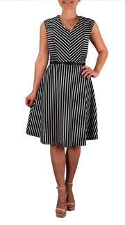 Vintage Inspired Striped Retro A-Line Cocktail Dress with Belt Tie