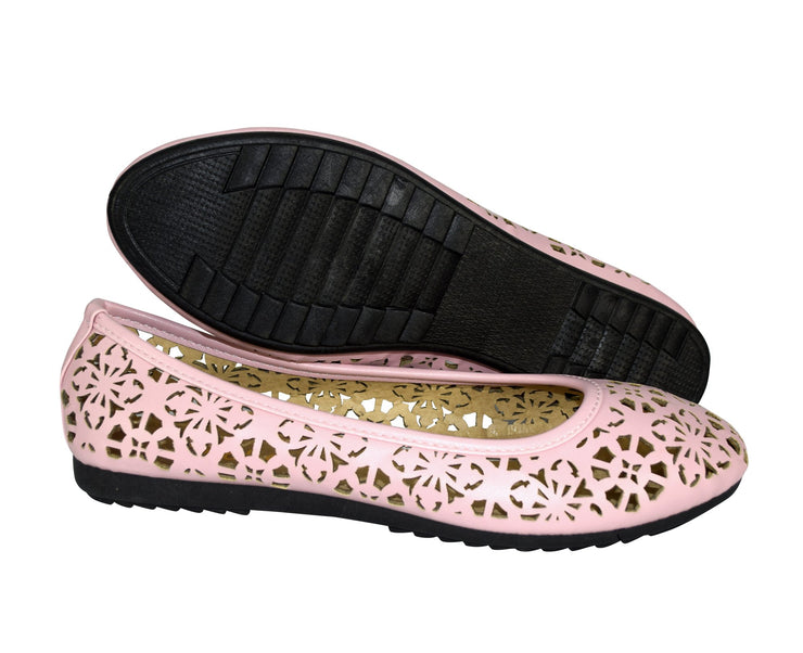 Peach Couture Womens Chelsea Laser Cut Crochet Bow Perforated Ballet Flats Shoes