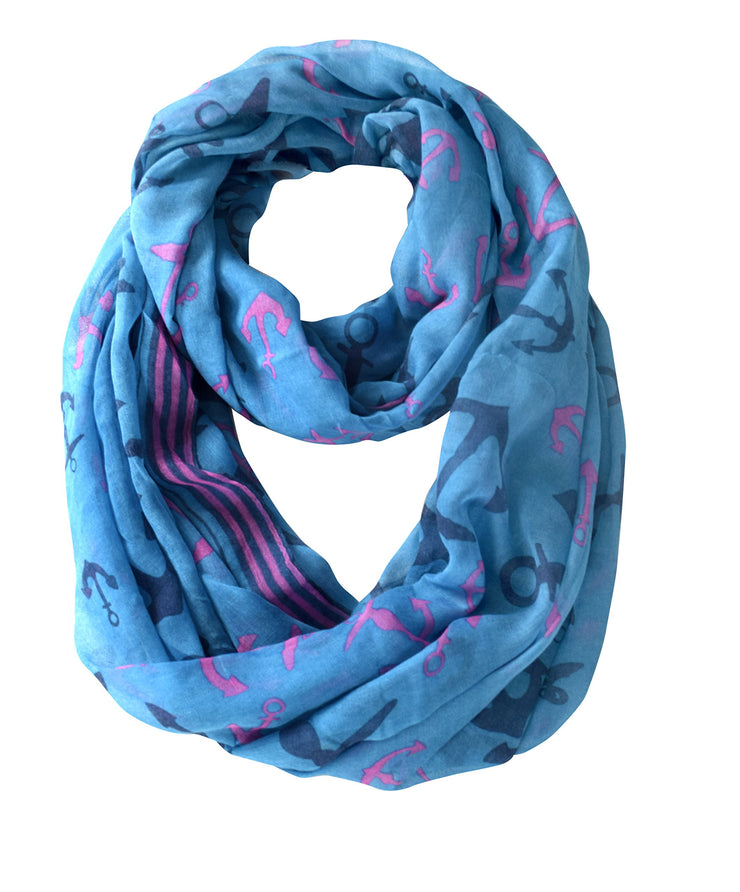 All season Infinity Loop Scarves Border Anchor Print