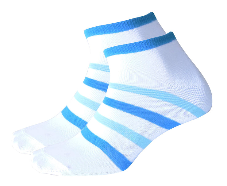 Hanes Girl's Low Cut 4 Pair Value Pack Striped Colorful White Socks Size 4-10
